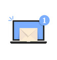 one unread email message in laptop vector image vector image