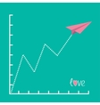 Origami pink paper plane and zigzag scale Love vector image vector image