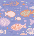 pink detailed fish doodles vector image vector image