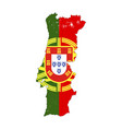 portugal country silhouette with flag on vector image vector image