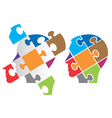Puzzle heads symbolizing Psychology vector image