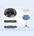 robotic vacuum cleaner with spare parts vector image vector image