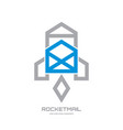 rocket mail - creative icon logo template vector image