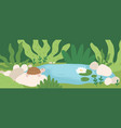 scene with cute turtle sitting on stone near pond vector image