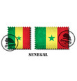 senegal or senegalese flag pattern postage stamp vector image