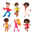 set cartoon style retro disco dancers black vector image vector image