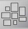 set of black photo frames vector image vector image