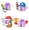set of gift character with beer plumber gift vector image vector image