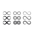 set of infinity symbols and icons silhouettes vector image