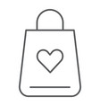 shopping bag thin line icon love and gift vector image vector image