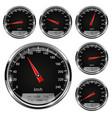 speedometers black gauges with metal frame vector image vector image