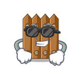 super cool character close up on wooden fence door vector image