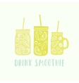 Three different mason jars with smoothie vector image vector image