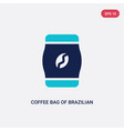two color coffee bag brazilian beans icon from vector image vector image