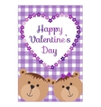 Valentines Day background with teddy bears hearts vector image