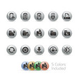 web and mobile icons 3 - metal round series vector image vector image