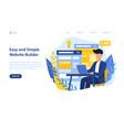website builder design concept with man on laptop vector image
