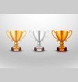 winner cup gold silver bronz sign set vector image