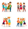 playing kids 4 cartoon icons vector image