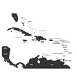 political map of carribean gray lands on white vector image
