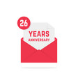 26 years anniversary icon in red open letter vector image vector image