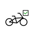 bicycle with a mark icon vector image vector image