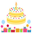 birthday cake balloons and presents vector image vector image