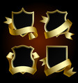 black badge set with gold border and ribbon vector image vector image