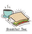 breakfast time with cute cat sandwich and coffee vector image vector image