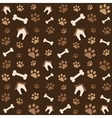 brown pattern with footprints and bones vector image vector image