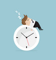 businessman sleeping on clock vector image vector image
