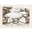 Camping landscape sketch vector image