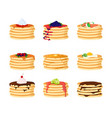 cartoon color pancakes with different toppings set vector image vector image