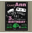 Chalk board invitation for birthday in the camp