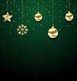 Christmas Golden Hanging Balls on Dark Green vector image vector image