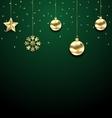 christmas golden hanging balls on dark green vector image vector image