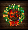 christmas wreath of fir branches vector image vector image