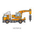 color flat icon construction machinery vector image vector image