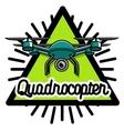 Color vintage Quadrocopter emblem vector image vector image