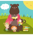 Cute bear reading book for girls vector image vector image