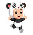 cute boy cartoon wearing panda costume vector image