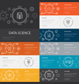 data science infographic 10 line icons banners vector image