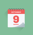 day calendar with date september 9 vector image vector image