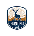 deer hunting heraldic badge for hunt club design vector image vector image