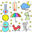 doodlem of weather element set vector image
