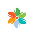 flower color design logo icon vector image