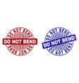grunge do not bend textured round stamps vector image vector image