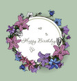 happy birthday card with flowers vector image vector image