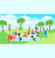 happy children on picnic celebrating birthday in vector image vector image