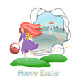 happy easter card with girl and countryside vector image vector image